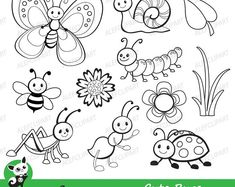 Vector Set of Cute Cartoon Bug Line Art Art Drawings For Kids, Drawing For Kids, Easy Drawings, Art For Kids, Cute Coloring Pages, Coloring Books, Clipart, Classroom Crafts, Digital Stamps
