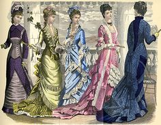 """Godey's Lady's Book Volume 96 (1878) """"Godey's Fashions for August 1878"""": Walking dress of brown silk; Dinner dress of moss-green silk and grenadine; Reception dress of pale blue silk; Evening dress of pink silk and flowered gauze; House dress of elephant-colored silk."""