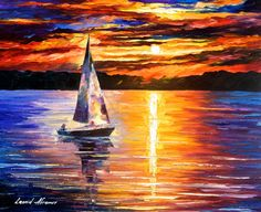 "Sunset Over The Lake — PALETTE KNIFE Contemporary SeaScape Oil Painting On Canvas By Leonid Afremov - Size: 30"" x 24"" inches (75 cm x 60 cm)"