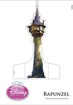 Rapunzel 's Tower with Character Prints Disney Princess Castle, Disney Princess Rapunzel, Tangled Rapunzel, Deco Disney, Disney Diy, Disney Crafts, Rapunzel Birthday Party, Tangled Party, Fairy Tale Crafts