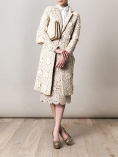 Chloe lace coat and bag, Stella McCartney shirt and shoes, and Dolce & Gabbana lace skirt