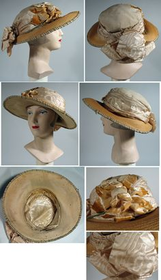 6dd60892235 1920-25 silk and straw wide brim cloche with silk moire band 1920s Hats