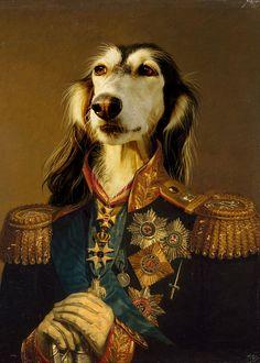 Dinstinguised Anthropomorphic Borzoi Soldier Portrait