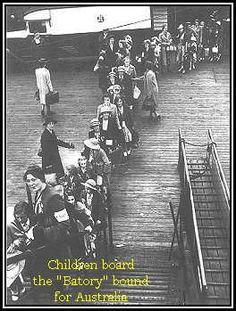 Children board the liner Batory bound for Australia