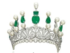 A Chaumet diamond ice frost tiara from 1904.      A gold and diamond headdress from India, 19th century.      An emerald and diamond Bazu...