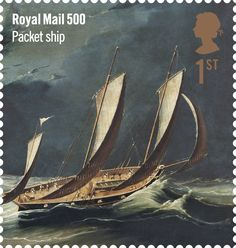 Royal Mail 500 1st class stamp (2016). Packet ship