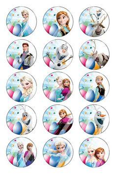 "Disney Frozen Easter Bottle Cap 1"" Circle Digital Collage Sheet #19"