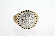 14k Yellow Gold Filigree Bright Diamond Cluster Pinky Ring Size 4 1 2 Vintage | eBay