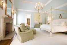 Margaux Interiors Limited - bedrooms - master bedroom, master bedroom retreat, blue walls, bedroom with blue walls, tray ceiling, bedroom tr...