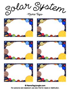 Free printable solar system name tags. The template can also be used for creatin Classroom Name Tags, Space Theme Classroom, Printable Name Tags, Free Printable, Name Tag For School, Name Tag Templates, Space Names, Solar System Crafts, Outer Space Party