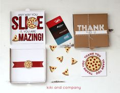Teacher Gift Card Printables - Pizza Box Card. Give your teacher a night out with a gift card to their favorite restaurant housed in this adorable DIY printable pizza box. Perfect for Teacher Appreciation or End-of-Year Gift. via @kikicomin Check out our entire round-up of awesome teacher printables at whatmomslove.com.