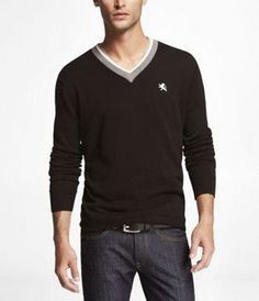 TIPPED COTTON V-NECK SWEATER at Express