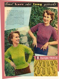 kostenlose Anleitung für Pullover aus den 50er Jahren - Ärmel kurz oder lang gestrickt