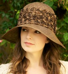 Womens Brown Straw Hat. Cloche Downton Abbey Hat. by AwardDesign, $88.00