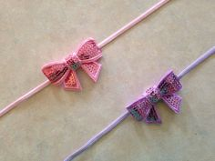 Sequin bow headband - Small sequin bow on Skinny Elastic Headband Baby Toddler Girl Adult - set of 2 on Etsy, $6.00