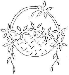 Vintage Flower Basket pattern for embroidery Hand Embroidery Tutorial, Embroidery Flowers Pattern, Embroidery Transfers, Vintage Embroidery, Ribbon Embroidery, Embroidery Applique, Cross Stitch Embroidery, Embroidery Designs, Pattern Flower