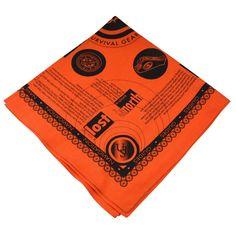 Ultimate Survival Technologies Survival Bandana Orange Kerchief w/Survival Tips