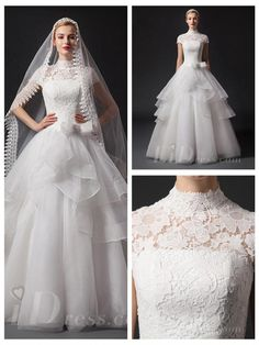 Short Sleeves High Neckline Natural Waist Floor Length Ball Gown Wedding Dress