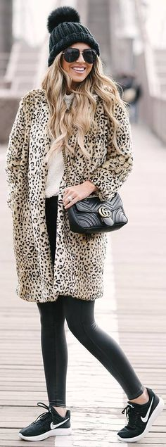 #winter #outfits white shirt, pather long coat, leather leggings, sneakers