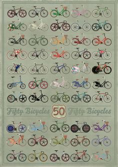 Fifty Bicycles Stretched Canvas