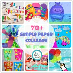 70+ Simple Paper collages You'll love to make now - Of all the crafts that kids can do, one of the easiest one is a paper collage. It's so easy, even toddlers can try their hand at it!! All you need is a big sheet of plain paper, lots of colored paper and of course, glue!! The best part is that you can make it as simple or as detailed as you like – the options are endless!!