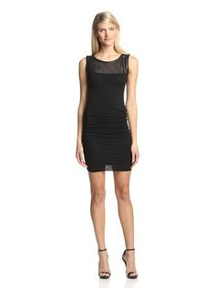 70% OFF Twenty Tees Women's Sleeveless Ruched Dress with Leather Yoke (Black)