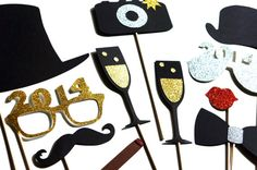 2014 New Years Eve Photo Booth Props - Silver and Gold - New Years Party Props… Nye Party, Party Time, Gold Party, Glitter Photo, Party Props, Party Ideas, Glitter Gifts, New Year Celebration, Photo Booth Props