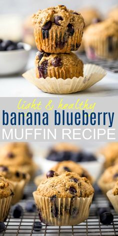 The BEST Healthy Banana Blueberry Muffins you'll ever eat! These fluffy moist blueberry muffins are super easy. Made with whole wheat flour and naturally sweetened with applesauce, honey and bananas! Perfect for breakfast or mid-day snack! Blueberry Banana Muffins Healthy, Blueberry Recipes, Blue Berry Muffins, Whole Wheat Blueberry Muffins, Blueberry Sauce, Blueberry Breakfast, Breakfast Healthy, Yummy Recipes, Healthy Muffin Recipes