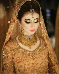 Portrait of a beautiful female model in traditional ethnic asian indian bridal costume with heavy makeup and jewellery , Pakistani Bridal Makeup, Pakistani Wedding Dresses, Princess Wedding Dresses, Best Wedding Dresses, Wedding Wear, Wedding Attire, Boho Wedding, Wedding Gowns, Bridal Makeup Looks