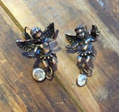 KIRKS FOLLY Cherub Angel Earrings dangle crystal by WarrenExchange on Etsy