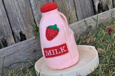 Felt Food Strawberry Milk. $17.00, via Etsy.