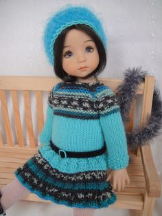 Handknitted OUTFIT for  LITTLE DARLING doll - 13 inches  (Dianna Effner)  Ends 3/10/15. Start bid $40.00 or BIN $54.00. From France. SOLD for $40.00