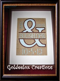 Burlap Wedding Date Embroidered Panel for by GoldeeloxCreations