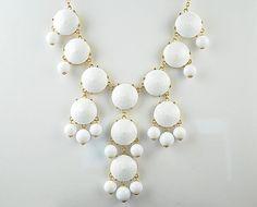 White Bubble Bib Necklace, Bubble Necklace, Bubble Jewelry, Bright White Necklace, White facet (Fn0508-White)