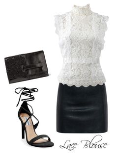 Lace Blouse by billi29 on Polyvore featuring Oscar de la Renta, McQ by Alexander McQueen, Steve Madden and Valentino
