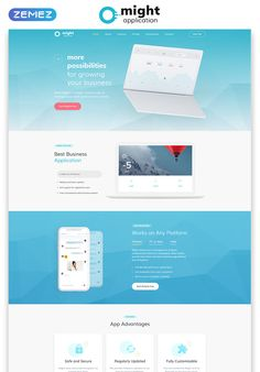 Might - Delicate Web Application HTML Landing Page Template Landing Page Html, Landing Page Examples, Best Landing Pages, Landing Page Design, Website Design Inspiration, Page Template, Templates, Banner Template, One Pager Design