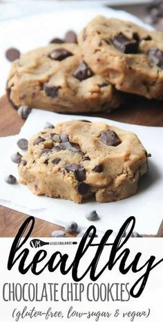 Healthy Chocolate Chip Cookies (Gluten Free, Vegan, Low Sugar) recipe. Just 7 ingredients turn into gooey moist chocolate chip cookies that are bonus a healthy cookie with no oil or butter added. (Gluten Free, Dairy-Free, Low-sugar, Vegan friendly)