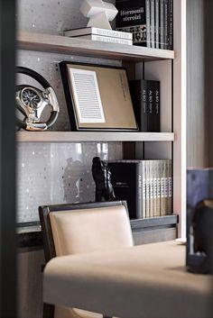 97㎡御景中央样板房-9 House Furniture Design, Kids Furniture, House Design, Masculine Apartment, Partition Screen, Modern Sideboard, Shelving Systems, Bookshelves, Bookcase