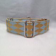 1.5 inch Martingale Collar with Blue  Gold Harlequin Ribbon by fabcollarhounds, $20.99