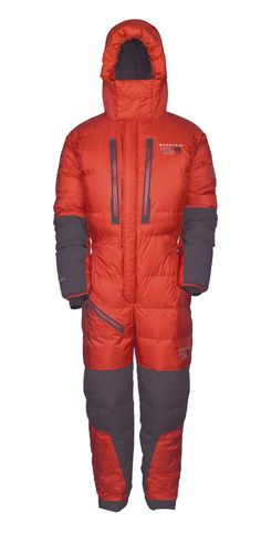 Essential Apparel for Climbing the Earth's Highest Peaks: The Mountain Hardwear Absolute Zero Suit. Watertight, user friendly and compatible with climbing equipment such as air masks. $1250. Available August 2012.