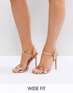 c9e73b83966 ASOS DESIGN Wide Fit Hands Down barely there heeled sandals at asos.com
