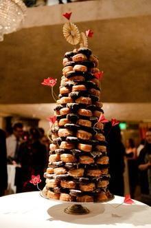 Towering display of wedding desserts