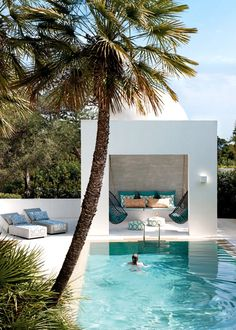 Outdoor modern cabana with pool - take me here right now!