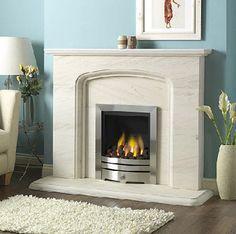 Stone Marble Fireplace Surround, Cream Stone Beige Marble ...