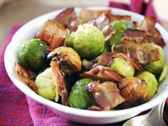 Fresh brussel sprouts tossed with crispy bacon, roasted chestnuts and ground nutmeg. Side Recipes, Fall Recipes, Chestnut Recipes, Organic Recipes, Ethnic Recipes, Roasted Chestnuts, Paleo, Christmas Dishes, Christmas Side