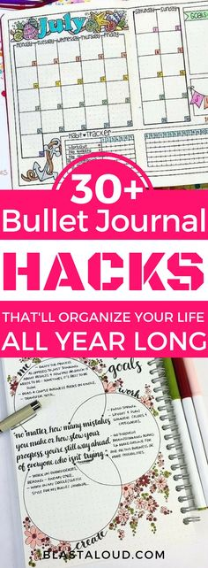 These bullet journal ideas are all about keeping your life organized. Keep track of your day in your bullet journal with these creative bullet journal layouts! #bulletjournal #bujo