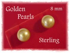 Akoya - 8 mm Golden Cultured Pearl Sterling Silver Stud Earrings - Wedding Bride Anniversary Birthday - Red Leather Gift Box FREE SHIPPING by FindMeTreasures on Etsy