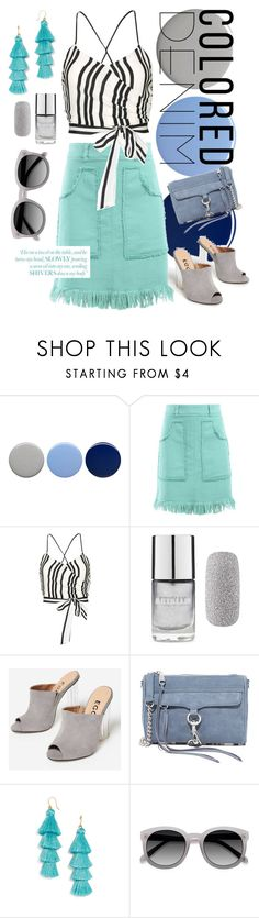 """""""Mint Denim"""" by kristin-laura ❤ liked on Polyvore featuring Burberry, Love Moschino, Alice + Olivia, Forever 21, Rebecca Minkoff, BaubleBar and Ace"""