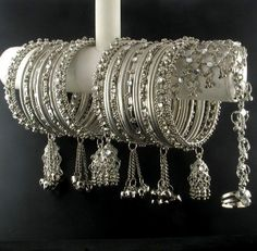 Silver Bracelet With Heart Refferal: 7140587247 The Bangles, Kundan Bangles, Bridal Bangles, Silver Bangles, Bridal Jewelry, Tanishq Jewellery, Silver Rings, Antique Jewellery Designs, Fancy Jewellery