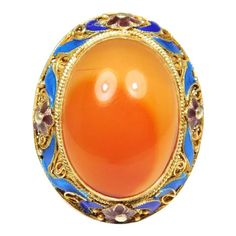 Chinese Gilt Silver Enamel Large Carnelian Filigree Ring Nail Guards, Jewelry Rings, Fine Jewelry, Filigree Ring, Victorian Jewelry, Silver Enamel, Carnelian, Jewelry Design, Chinese